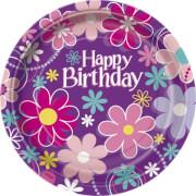 Happy Birthday Blossom Pappteller 23 cm 8 Stück